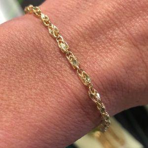 10k Gold Diamond Cut Marquise Chain Bracelet